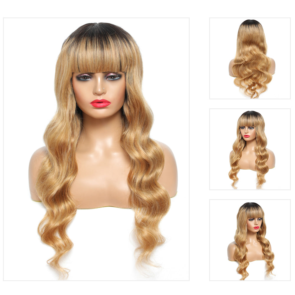Kemy Hair Ombre Honey Blonde Body Wave Human Hair Wigs with Bang 16''-28'' (T1B/ 27)