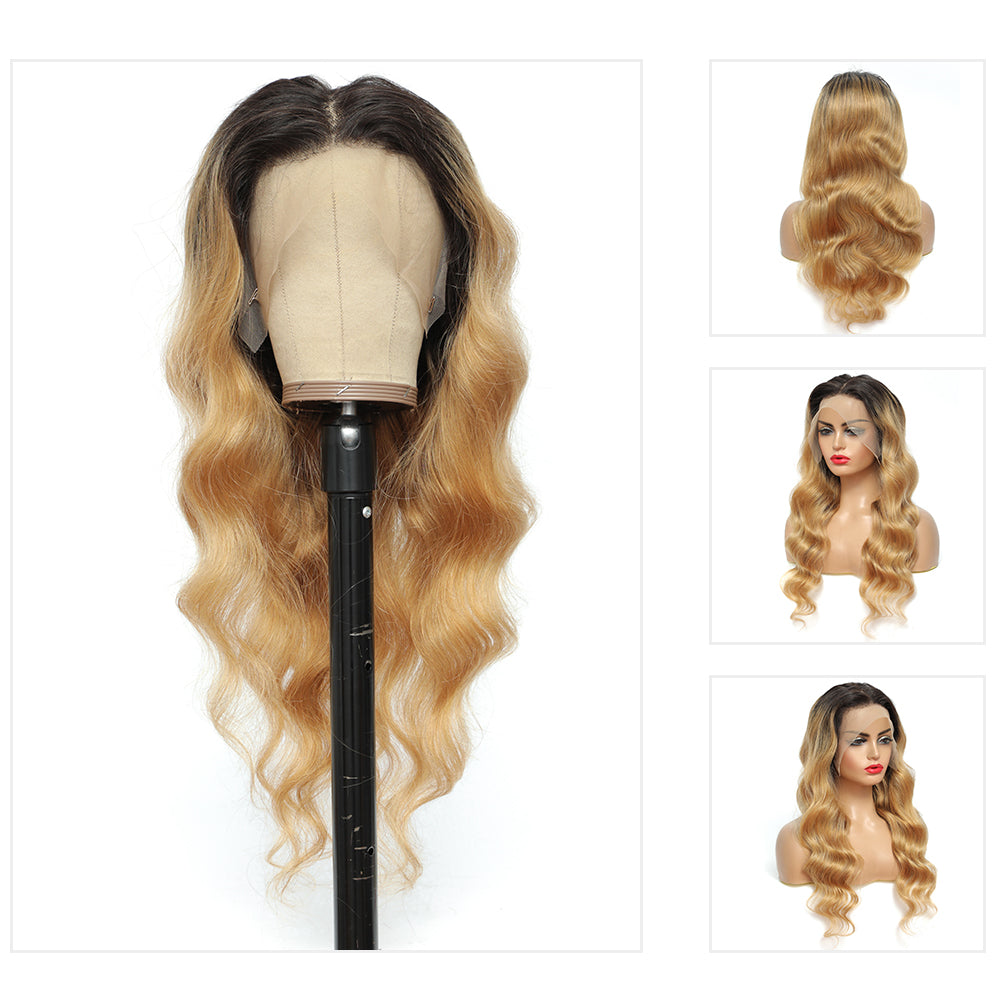 Kemy Hair Custom ombre 27 Body wave Human Hair Lace Front wigs 24''-28''