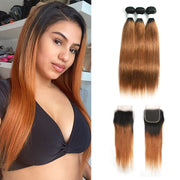 Ombre 30 Straight 3 Human Hair Bundles with One 4×4 Free/Middle Lace Closure