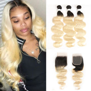 Ombre Blond Body Wave Remy 3 Human Hair Bundles with One 4×4 Free/Middle Lace Closure (1B/613) (3947263459398)