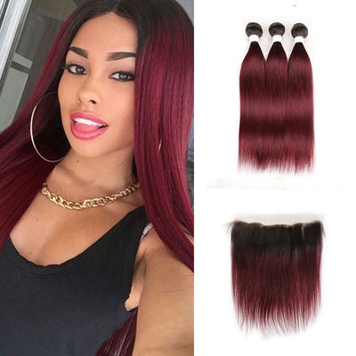 Ombre 99J Straight 3 Human Hair Bundles with One 4×13 Free/Middle Lace Frontal (3948214878278)