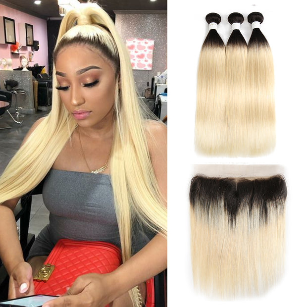 Straight Ombre Blond Remy 3 Human Hair Bundles with One 4×13 Free/Middle Lace Frontal (1B/613) (3947279646790)