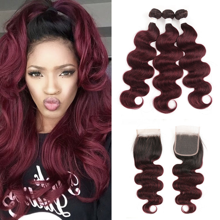 Ombre 99J Body Wave 3 Human Hair Bundles with One 4×4 Free/Middle Lace Closure (3948163039302)