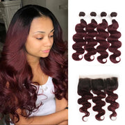 Ombre 99J Body Wave 4 Human Hair Bundles with One 4×13 Free/Middle Lace Frontal (3948170870854)