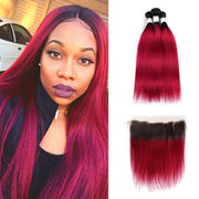 Ombre BURG Straight 3 Human Hair Bundles with One 4×13 Free/Middle Lace Frontal (3578941964388)