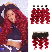 Ombre BURG Body Wave 4 Human Hair Bundles with One 4×13 Free/Middle Lace Frontal (3578883833956)