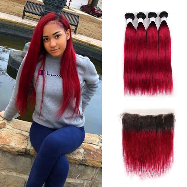 Ombre BURG Straight 4 Human Hair Bundles with One 4×13 Free/Middle Lace Frontal (3579026604132)