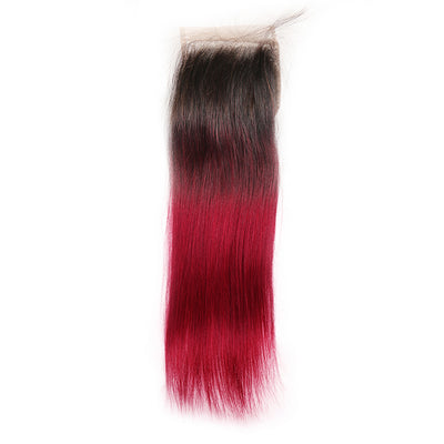 Straight Ombre BURG Human Hair 4×4 Free/Middle Part Lace Closure(8''-20'') (4448552353862)