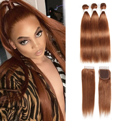 Straight Colored Human Hair Weave with Free /Middle Part 4-4 Lace Closure (30)