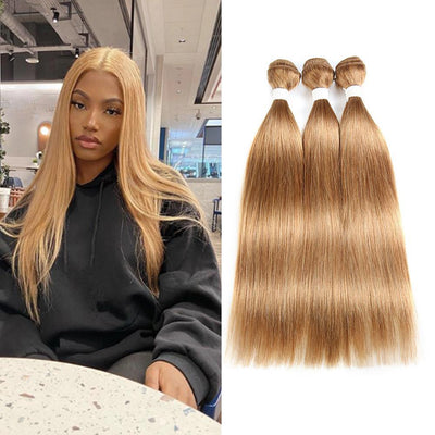 Colored 100% Human Hair Weave Straight 3 Hair Bundles 8-26 inch (27)