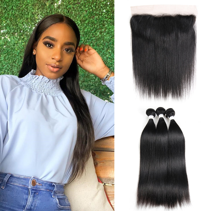 Straight Colored Human Hair Free/Middle Part 4×13 Lace frontal  (1B)