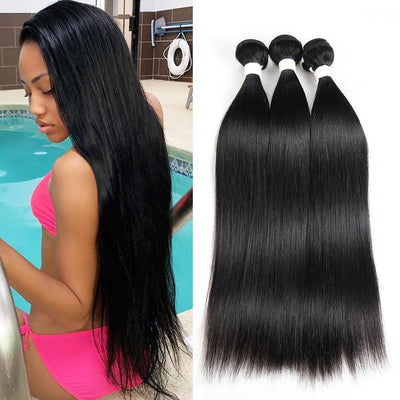 Kemy Hair Colored 100% Human Hair Weave Straight Three Hair Bundles 8-26 inch (1B) - Kemy Hair