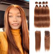Straight Colored Human Hair Four Bundles Weave with One Free/Middle Part 4×4 Lace Closure (30)