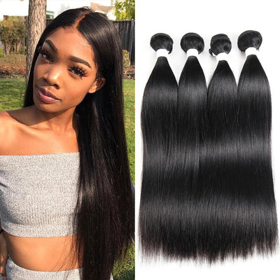 Kemy Hair Black 100% Human Hair Straight Four Bundles 8-26 inch (1B) - Kemy Hair