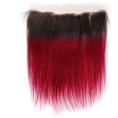Straight Ombre BURG Human Hair 4×13 Free/Middle Part Lace Frontal(8''-20'') (4448563134534)