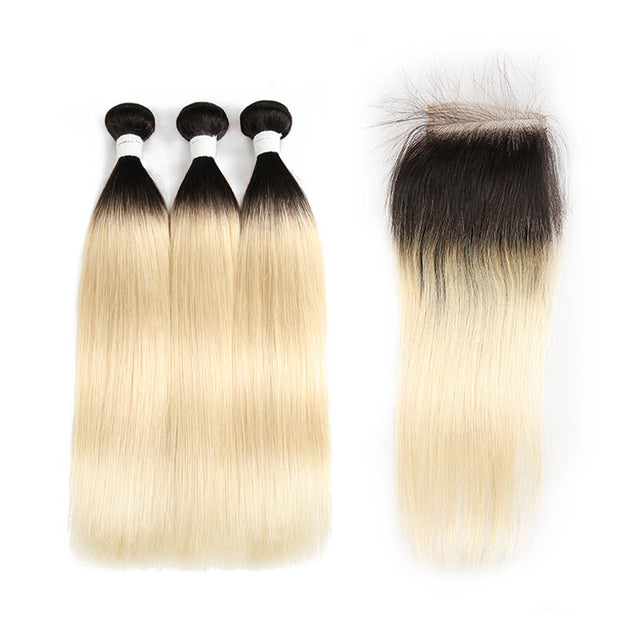 Straight Ombre Blond Remy 3 Human Hair Bundles with One 4×4 Free/Middle Lace Closure (1B/613) (3947237244998)