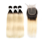 Straight Ombre Blond Remy 3 Human Hair Bundles with One 4×4 Free/Middle Lace Closure (1B/613)
