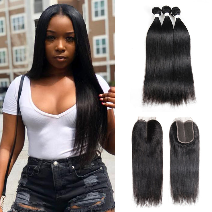 Straight Colored Human Hair Weave with Free /Middle Part 4×4 Lace Closure (1B) (2773384986724)
