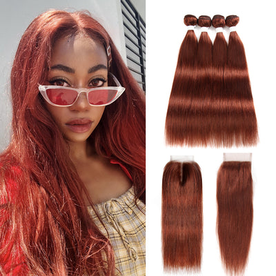 Straight Colored Human Hair Four Bundles Weave with One Free/Middle Part 4×4 Lace Closure (33)