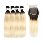 Straight Ombre Blond Remy 4 Human Hair Bundles with One 4×4 Free/Middle Lace Closure (1B/613) (3947290755142)