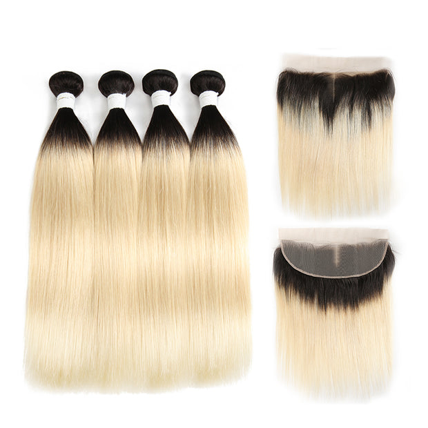 Straight Ombre Blond Remy 4 Human Hair Bundles with One 4×13 Free/Middle Lace Frontal (1B/613) (3947293671494)