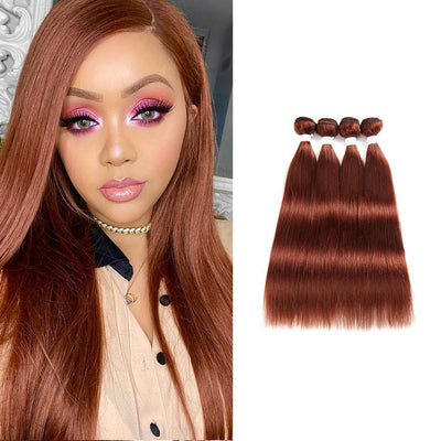 Colored 100% Human Hair Weave Straight 4 Hair Bundles 8-26 inch (33) (2626061336676)