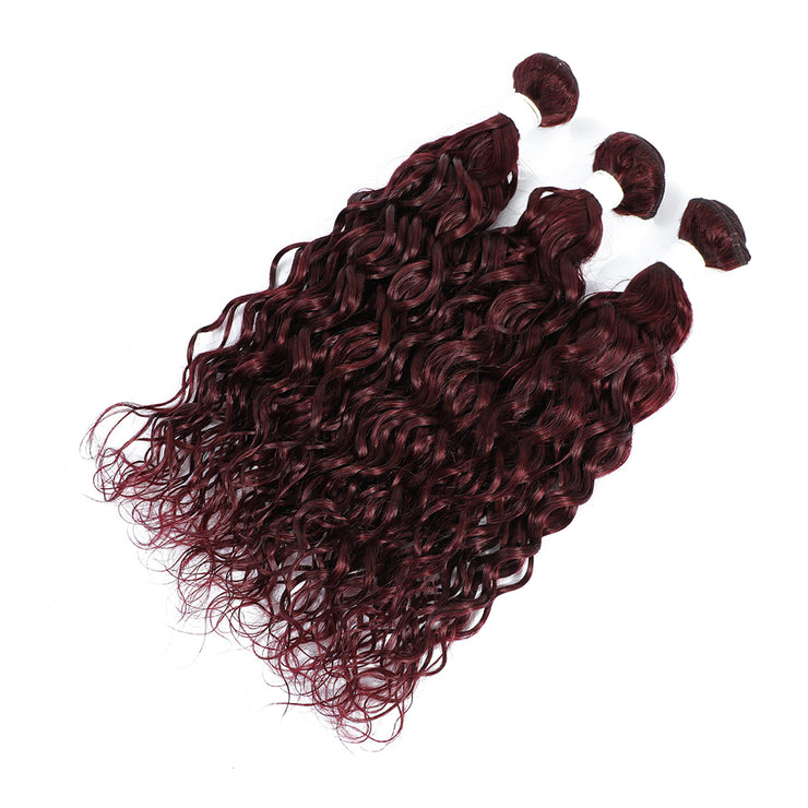 Maroon Red 3 Human Hair Bundles Water Wave (99J)