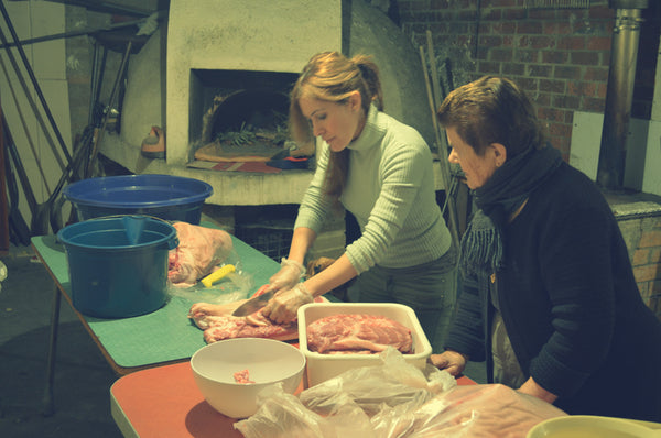Making capocollo with mamma