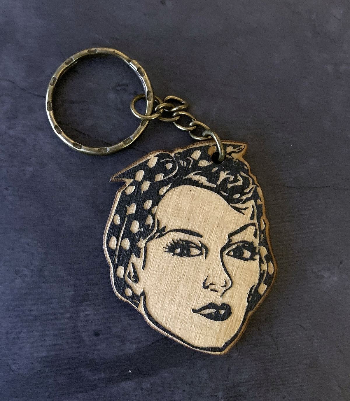 Rosie the Riveter Handcrafted Wooden Keychain - Pop Culture Spot