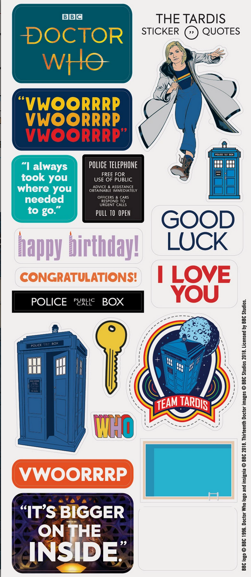 BBC Doctor Who TARDIS Die Cut Card and Stickers