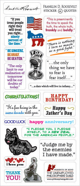 President Franklin D. Roosevelt FDR Greeting Card and Stickers - Pop Culture Spot