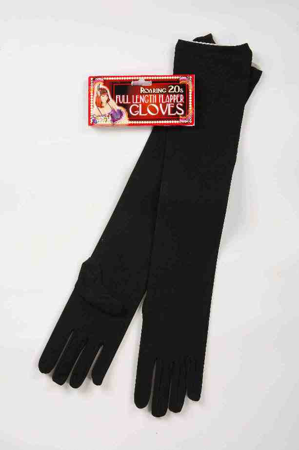 Black Nylon Flapper Long Gloves Glove Roaring 20's - Pop Culture Spot