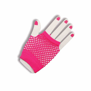 80's Neon Pink Fingerless Fishnet Gloves Pink - Pop Culture Spot