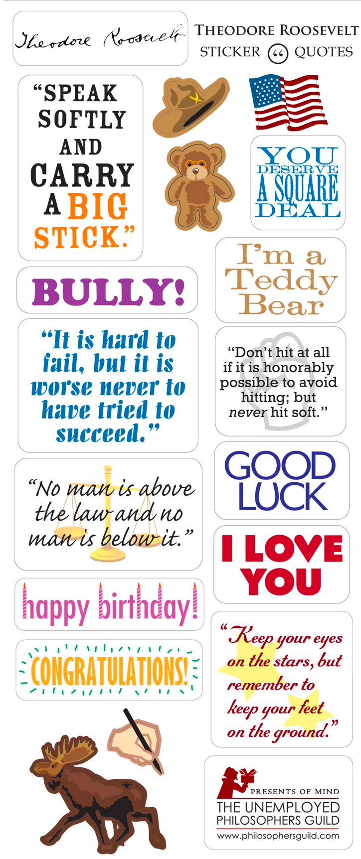 President Teddy Roosevelt Greeting Card and Stickers