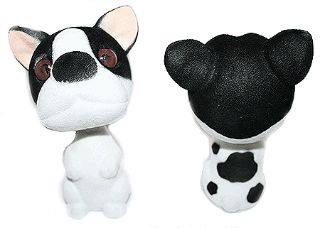 Boston Terrier Dog Bobble Head front and back profiles
