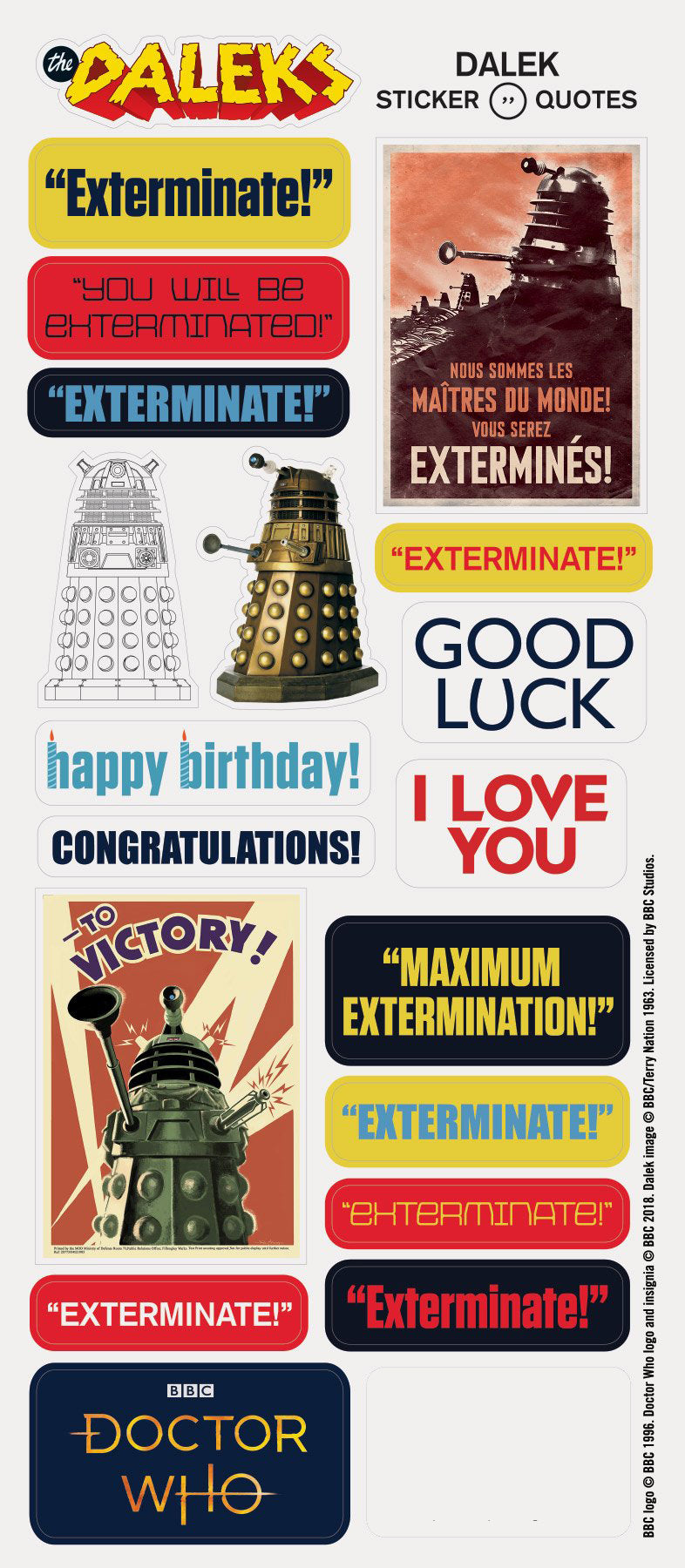 BBC Doctor Who Dalek Greeting Card and Stickers - Pop Culture Spot