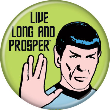 Star Trek Mr. Spock Live Long and Prosper Button Pin - Pop Culture Spot