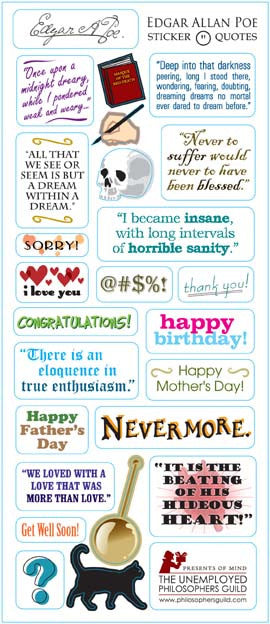 Edgar Allan Poe Quotable Greeting Card and Stickers - Pop Culture Spot