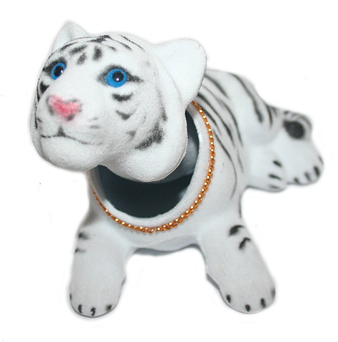 White Tiger Cat Bobble Head Doll