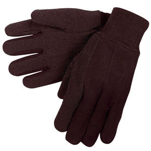 Cotton Jersey Gloves with Dots (Brown)