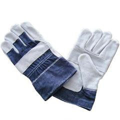 Light Leather Gloves - Denim Back + Cuff