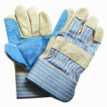Light Leather Gloves - Denim Back + Cuff with Patch Palm