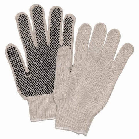 String Knit Cotton Gloves with PVC Dots (Single Side)
