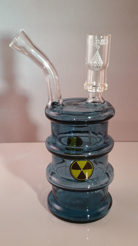 14mm High Tech Glass Blue Stardust Hazardous Waste Barrel