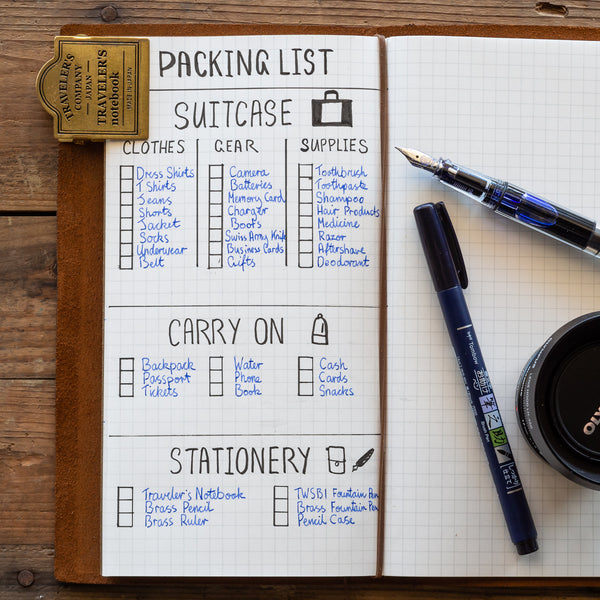 Packing List Page Spread for a Traveler's Notebook or Bullet Journal