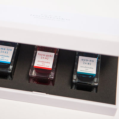 Iroshizuku Fountain Pen Ink - Sky Blue, Winter Persimmon and Dew on Pine Tree
