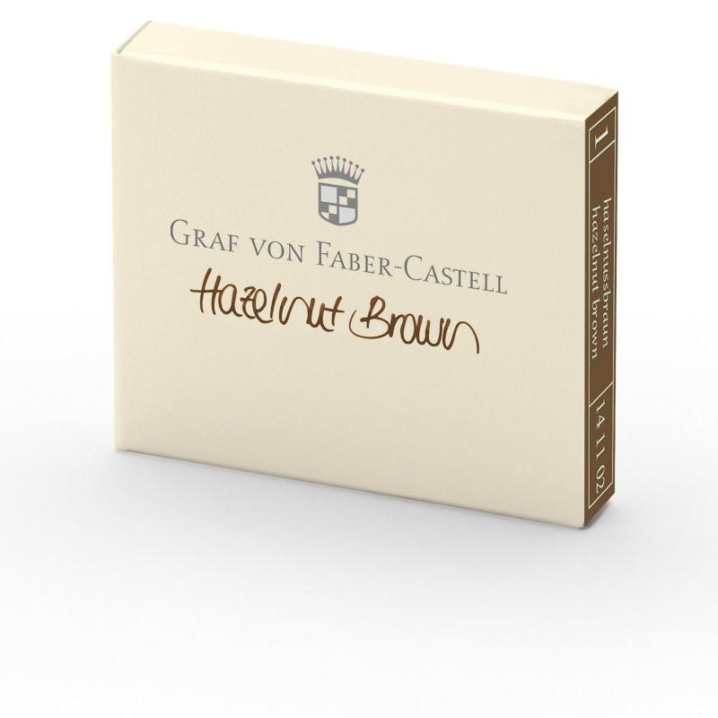 Graf von Faber-Castell Hazelnut Brown - Box of 6 - International Standard Ink Cartridges