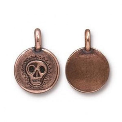 Metal Medallion - Skull - Antique Copper
