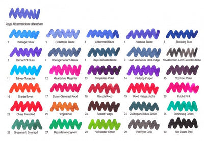 colour chart for fountain pen ink