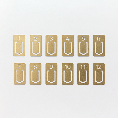 Brass Number Clips (set of 12) by Midori